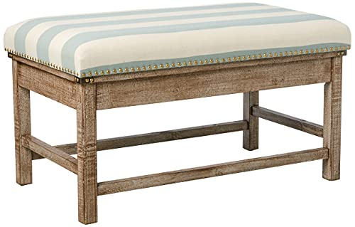 Decor Therapy Farley Upholstered Weathered Ottoman,...
