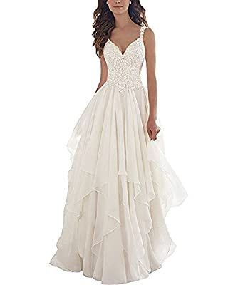 Material:Chiffon and lace; Decoration:V-Neck;Illusion Back;Straps;Lace Top;Sweep Train. Fully lined with built-in bra Please choose your correct size based on our size chart on the left About color variance: All our items are for real shooting; For t...