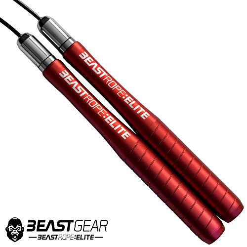 Beast Gear Cuerda Saltar Beast Rope Elite - Comba Crossfit Boxeo MMA HIIT Saltos Dobles - Comba Velocidad de Aluminio Ideal para Fitness Tus Entrenamientos Metcon y Quema Grasa