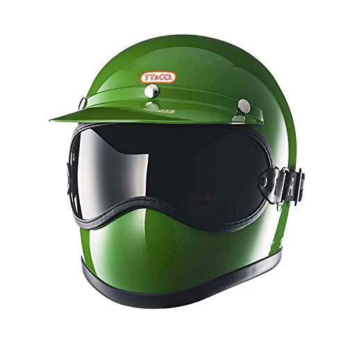 TT&CO. トゥーカッター グリーン ライトスモーク ゴーグルセット フルフェイスヘルメット ヴィンテージ フルフェイス ビンテージ ヘルメット SG/PSC/DOT 乗車用ヘルメット おしゃれ ハーレー モトクロス