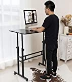 Akway Computer Desk Standing Desk with Wheels 39.4 x 23.6 inches Height Adjustable Desk Sit Stand Desk Rolling Cart, Black