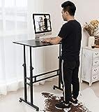 Akway Computer Desk Standing Desk with Wheels 39.4 x 23.6 inches Height Adjustable Desk Over Treadmill Desk, Black