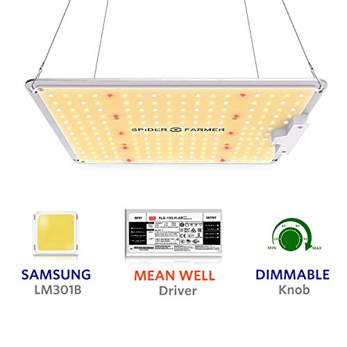Spider Farmer Newest SF-1000 LED Grow Light Compatible with Samsung LM301B Diodes & MeanWell Driver Dimmable Lights Full Spectrum for Indoor Plants Seeding Veg and Bloom Growing Lamp