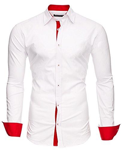 Kayhan Herren Hemd, TwoFace Weiß/Ärmel Rot L