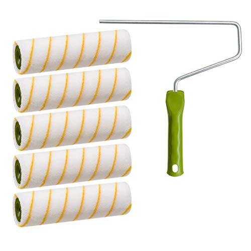 5 x Colorus Gelbfaden Farbwalze | Malerwalze 25 cm 12 mm Flor Polyacryl | Für Wand und Fassadenfarben | Malerrolle inklusive Farbroller-Bügel 8mm | Fellrolle Farbrolle