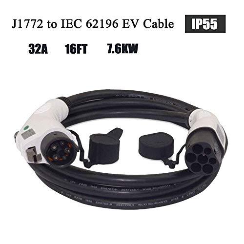 ETE ETMATE 16A Tipo 1 a Tipo 2 Cable de carga EV 5 Metros
