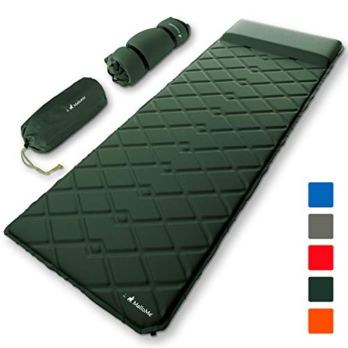 MalloMe Sleeping Pad Camping Air Mattress  Self Inflating Mat Bed for Backpacking Adults  Inflatable Ultralight Insulated Soft Foam Sleep Gear - Lightweight Travel Cot Roll Mats Accessories Green