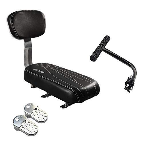 Samyoung Bicycle Rear Seat Cushion Armrest Footrest Set,Sanlinkee Bike Back Seat Child Safety Cushion Armrest Handrail Rear Feet Pedals(Black)