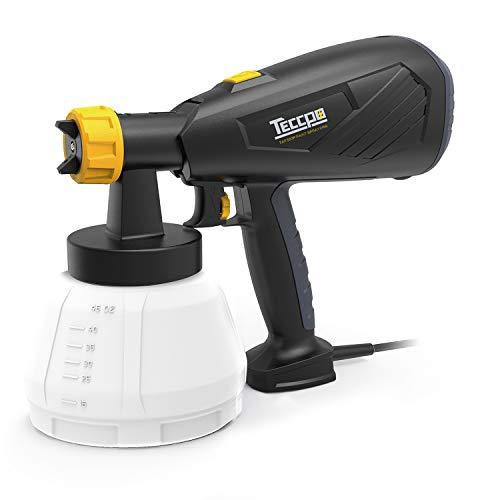 Paint Sprayer, TECCPO Paint Sprayer 500 Watts 800ml/min HVLP Spray Gun with 1300ml Detachable Container, 3 Pcs Copper Nozzles & 3 Spray Patterns, Adjustable Valve Knob for Home Decoration & DIY