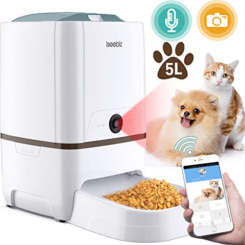 自動給餌器 猫 犬用 Iseebiz スマホで遠隔操作 カメラ付きペット自動餌やり機 6L大容量 1日6食まで タイマ...