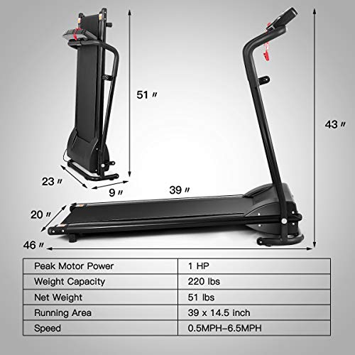 GYMAX Folding Treadmill, Electric Motorized Running Walking Machine with LCD Monitor & Cup Holder, Portable Easy Assembly Treadmill for Home Office Apartment 4