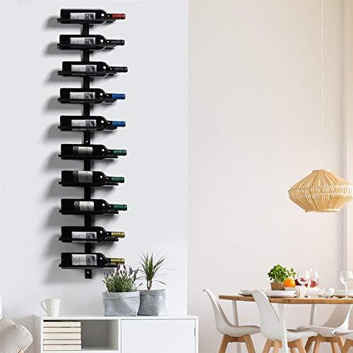 Yaheetech Porta bottiglie Vino da Parete 126 cm Scaffale Metallo Vino Porta 10 Bottiglie Mobile...
