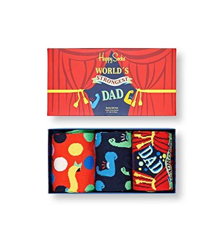 Happy Socks Father's Day 3-Pack Gift Set Calzini, Multicolore, 37/45 EU Uomo