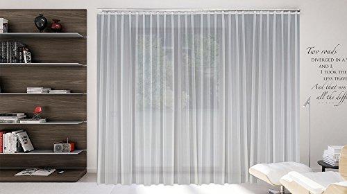 Sun World Maßgeschneiderte weiße Voile Store Gardine, inklusive Blei und Automatik Faltenband 1:2,5, 3er Falte, Vorhang nach Maß, Höhe 90 – 295 cm(175x600cm/HxB)