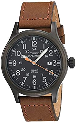 Adjustable brown 20 millimeter genuine leather strap fits up to 8-inch wrist circumference Black dial with date window at 3 o'clock; full Arabic numerals Black 40 millimeter brass case with mineral glass crystal Indiglo light-up watch dial; luminous ...