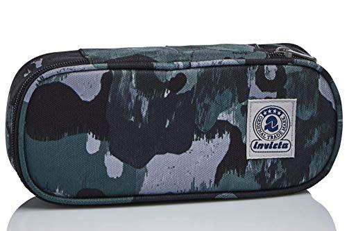 Bustina Ovale Invicta Camo Shade, Verde, con Organizer interno porta penne