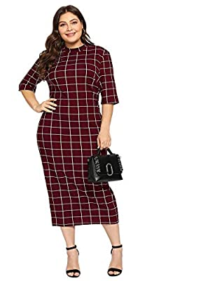 Fabric has elasticity Short sleeve, high neck, gingham pencil dress Fit for everyday dressing Model Is In Size 1XL. Model Measurements: Height: 70.1inch ,Bust: 38.2inch ,Waist: 29.9inch ,Hips: 44.1inch Please refer to Size Chart in Product Descriptio...