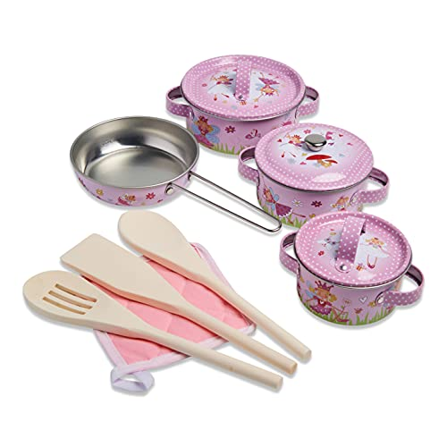 Wobbly Jelly - Set da cucina 'fatina' per bambini - Set da 11 pezzi di pentole e padelle giocattolo per bambini - Accessori da cucina giocattolo