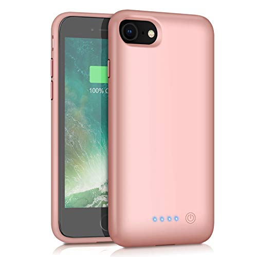 QTshine Battery Case for iPhone 6/6s/7/8, Upgraded [6000mAh] Protective Portable Charging Case Rechargeable Extended Battery Pack for Apple iPhone 6/6s/7/8 (4.7') - Rose Gold