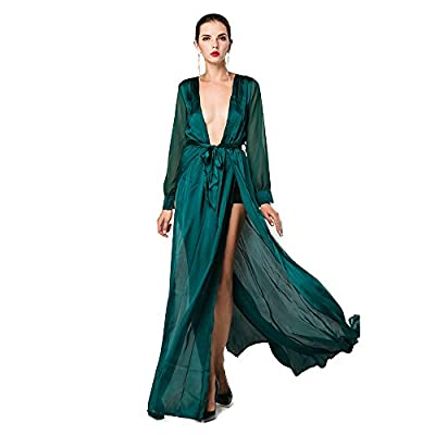 ✔Deep-v neck split long sleeve maxi dress. ✔Occasion:wedding,holiday,party,cocktail and etc. ✔This is a soft and comfortable fabric,waist elastic design. ✔This elegant yet flashy dress never goesout of style,If you think it is too long, you can cut i...