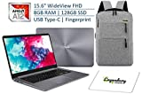 2019 ASUS VivoBook 15.6 Inch Thin and Lightweight FHD WideView NanoEdge Laptop, AMD Quad-Core A12-9720P, 8GB RAM, 128GB SSD, USB Type-C, Fingerprint Reader W/Legendary Backpack & Mouse Pad Bundle