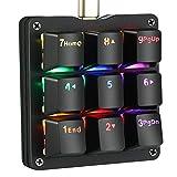 Koolertron One Handed Macro Mechanical Keyboard, RGB LED Backlit Portable Mini One-Handed Mechanical Gaming Keypad OSU! Keyboard 9 Fully Programmable Keys Blue Switches