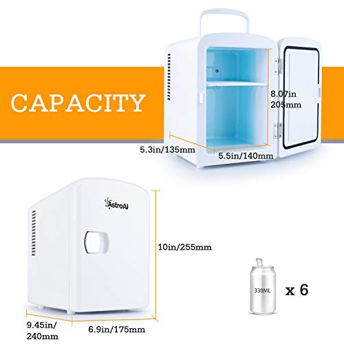 AstroAI Mini Fridge 4 Liter/6 Can AC/DC Portable Thermoelectric Cooler and Warmer for Skincare, Foods, Medications, Home and Travel, White 3