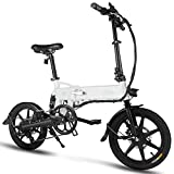 FIIDO D2S Folding EBike, 250W Aluminum Electric Bicycle with Pedal for Adults and Teens, 16' Electric Bike 15Mph with 36V/7.8AH Lithium-Ion Battery, Professional Quick-Shift Shimano 6-Speed, White