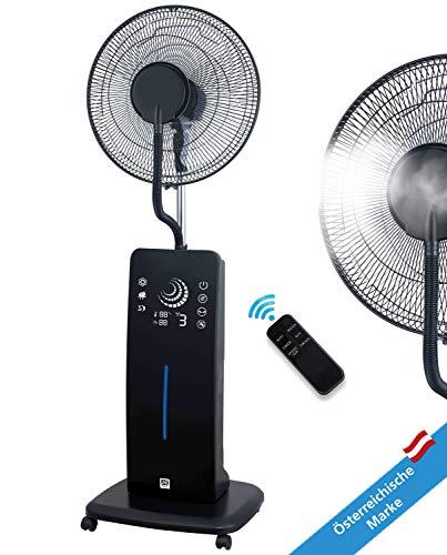 SHE Ventilator Stand-Ventilator Frosty Sprühnebel Cooler Luftbefeuchter mit Wasser Ultraschall-Sprühnebel Timer-Funktion schwarz leise Wasserkühlung Nebelfunktion inkl Fernbedienung Schlafzimmer