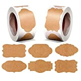 Chielor 600 Pieces 1.2' x 2' Gift Paper Labels Stickers, Self-Adhesive Jar Labels Handmade Baking Sticker Gift Tags for Cosmetic Handmade Decoration Weddings Office Mason Jars Food Craft, 6 Styles
