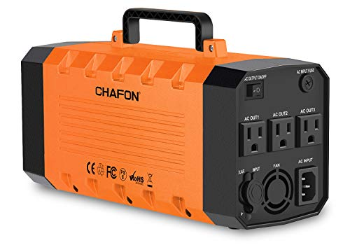CHAFON 346WH Portable Power Station,UPS Emergency Lithium Battery Backup,Solar Generator Pure Sinewave 110V/500W Triple AC Outlet 12V DC,USB Output for CPAP Camping Travel Fishing