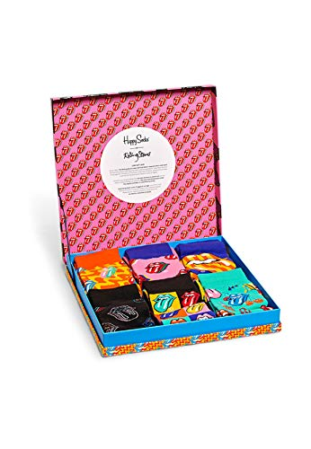 Happy Socks 3-pack Rotolamento Pietre Multi Lingua Logo Camicia Regalo Calzini Da Uomo, Nero/Blu...