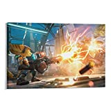 GUOHANG Poster 'Ratchet and Clank Rift Apart Voltage Attack Game', Kunstdruck, Leinwand, Poster, 50 x 75 cm