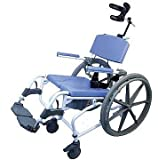 Tilt Shower Rehab Commode Bath Toilet Transport Chair with 24' Wheelchair Wheels, Aluminum 20' Wide Seat Heavy Duty 195-24