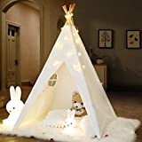 IREENUO Teepee Tent for Kids, Kids Teepee Play Tent with Twinkle Star Lights & Carry Case, Foldable Canvas Teepee Tent for Girls, Boys & Adults
