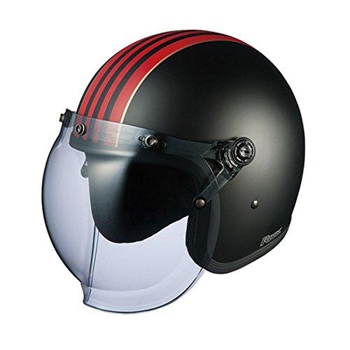 オージーケーカブト(OGK KABUTO)バイクヘルメット ジェット ROCK G1 フラットブラックレッド (サイズ:57-59cm)