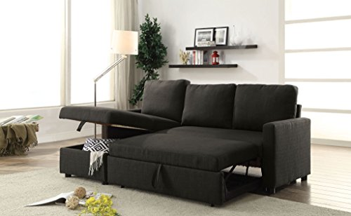 Major-Q 9052300 83 x 54 x 35 inches Contemporary Modern Style Sectional Sofa Chaise Ottoman Set with Sleeper and Storage in Charcoal Linen