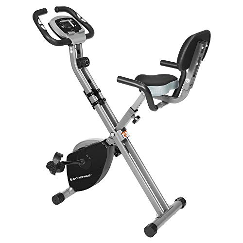 SONGMICS Exercise Bike, Indoor Cycling Bike, Home Fitness Trainer, Foldable with Backrest, Pulse Sensor, Phone Holder, 8 Magnetic Resistance Levels, 100 kg Max. Weight, Black and Grey SEB012B01