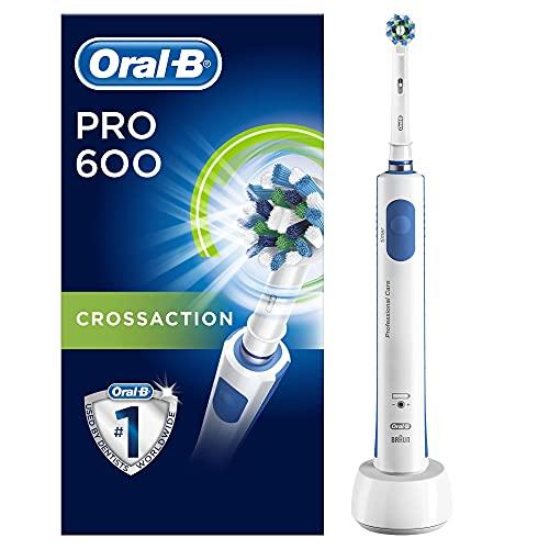 Oral-B PRO 600 Brosse à Dents Électrique Rechargeable avec 1 Manche et 1 Brossette CrossAction, Technologie 3D, Élimine jusqu'à 100 % de plaque dentaire