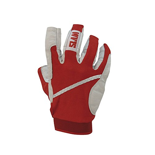 Slam Sailing Glove 3/4Dita da Uomo, 65% Nylon 35% Poliurethane Palm Regolabile Wristband, Uomo, Red