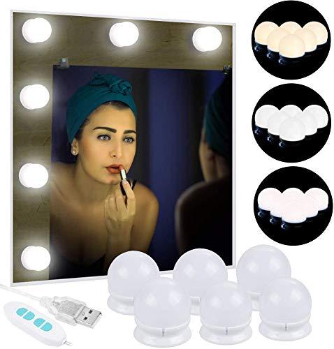 Anpro Luci Da Specchio - Kit Luci per Specchio Stile Hollywood per Trucco 6 Lampadine LED...