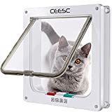 CEESC Cat Flap Door Magnetic Pet Door with 4 Way Lock for Cats, Kitties and Kittens, 2 Sizes and 2 Colors Options (L- Inner Size: 7.08'(W) x 7.48'(H), White)