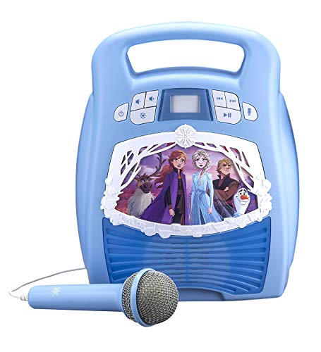 eKids Frozen 2 Bluetooth Portable MP3 Karaoke Machine Player with Light Show Store Hours of Music with Built in Memory Sing Along Using The Real Working Microphone USB Port to Expand Your Content