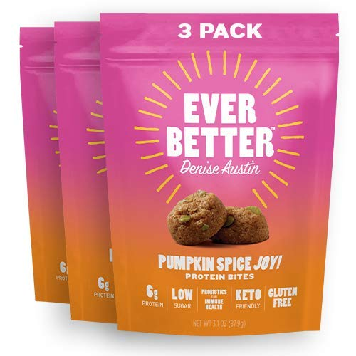 EVER BETTER Pumpkin Spice Cookies by Denise Austin - Low Sugar Gluten Free Keto Snacks with Gut-Friendly Probiotics for Immune Health - Delicious Low Carb Bites - Keto Friendly Food (3 Pack