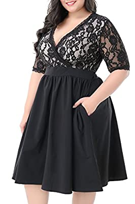 The drop down size is US Plus SIZE. Floral Lace Top,the material is a little stretchy Vintage Style,Midi Length with back zipper,2 sides pocket for the skirt part Wash by Cold Water Only he dress is Suitable for Casual,Dating, Banquet, Wedding, Cockt...