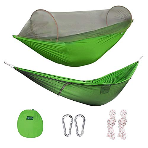 G4Free Portable Camping Hammock Mosquito Net Hammock Tent Capacity 400 Pounds Outdoor Foldable Tree Hammocks(110x50 inch)(Green)