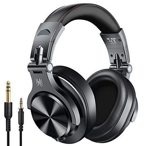 OneOdio A70 Cuffie Wireless Bluetooth, 50 ore di riproduzione, Cuffie Stereo Over Ear con Microfono CVC 6.0, Cuffie Professionali per Missaggio Monitor da Studio per Cellullari, PC, iPad, TV
