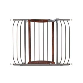 """Summer Anywhere Decorative Walk-Thru Baby Gate, Walnut Wood and a Metal Charcoal Accent Finish – 30"""" Tall, Fits Openings up to 28"""" to 42.5"""" Wide, Baby and Pet Gate for Doorways and Stairways"""