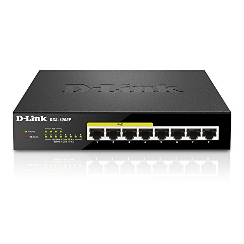 D-Link DGS-1008P Switch 8 Porte 10/100/1000 Gigabit, PoE (Power Over Ethernet, No Alimentazione Aggiuntiva), Risparmio Energetico