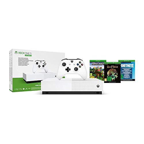 Microsoft - Xbox One S 1 TB All-Digital Edition, Fortnite (juego digital), Sea of Thieves (juego digital), Minecraft (juego digital)